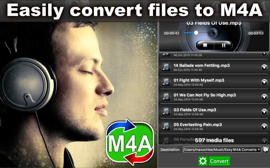 Easy M4A Converter – Convert MP3 Music To M4A Format !