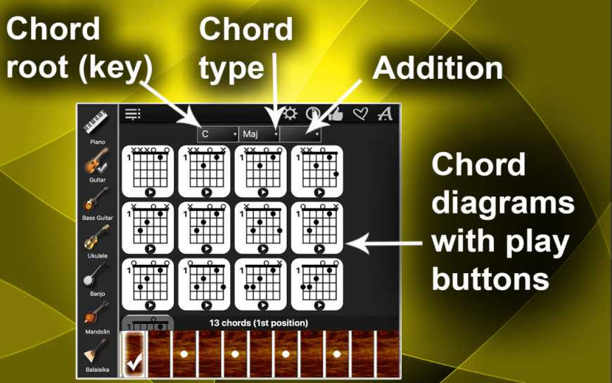 Chords Compass – Find All Chords For All Music Instruments !