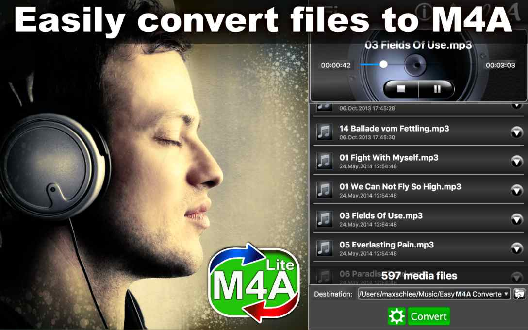 Easy M4A Converter Lite – Convert MP3 Music To M4A for FREE !