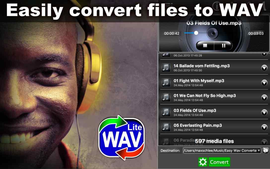 Easy WAV Converter Lite – Convert MP3 Music to WAV for FREE !